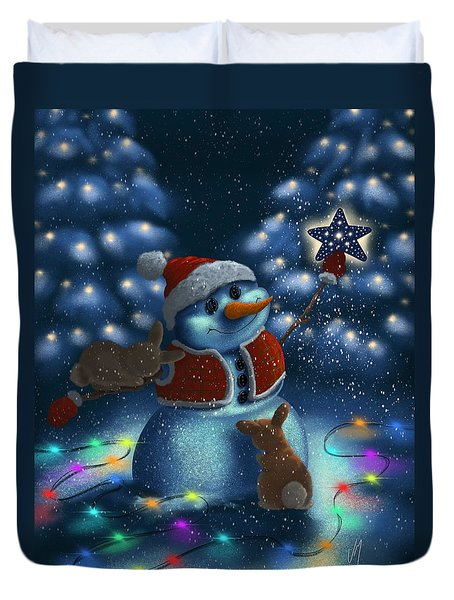 Duvet Cover featuring the painting Christmas Season by Veronica Minozzi