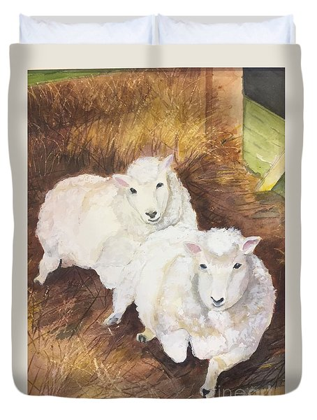 Duvet Cover featuring the painting Christmas Sheep by Lucia Grilletto