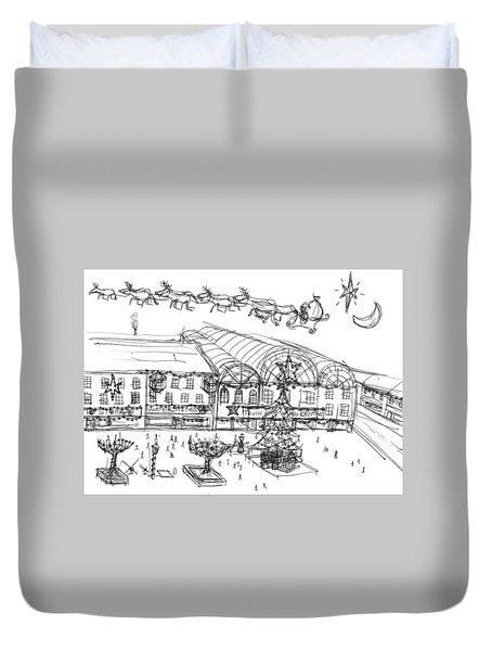 Christmas Shopping Duvet Cover by Artists With Autism Inc