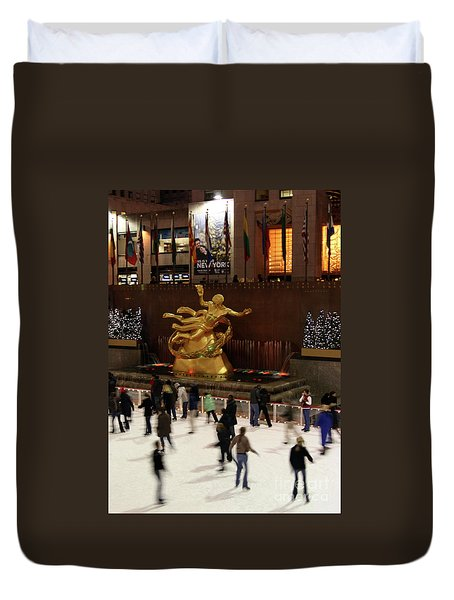 Christmas Skating Ny Style Duvet Cover by Karol Livote
