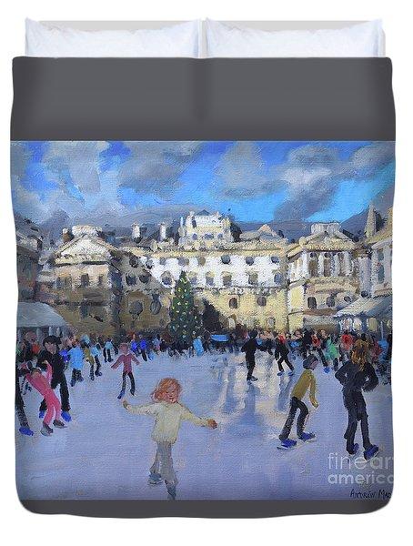 Christmas Skating, Somerset House, Daytime Duvet Cover