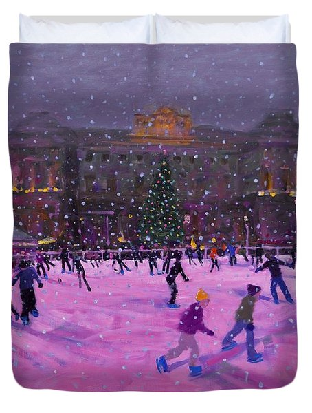 Christmas Skating Somerset House With Pink Lights Duvet Cover