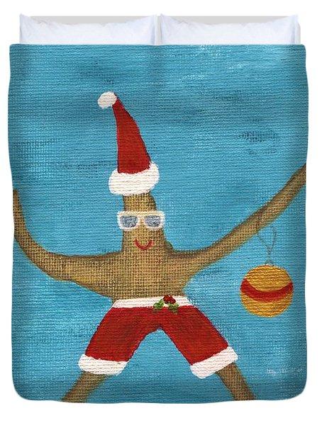 Christmas Starfish Duvet Cover by Jamie Frier