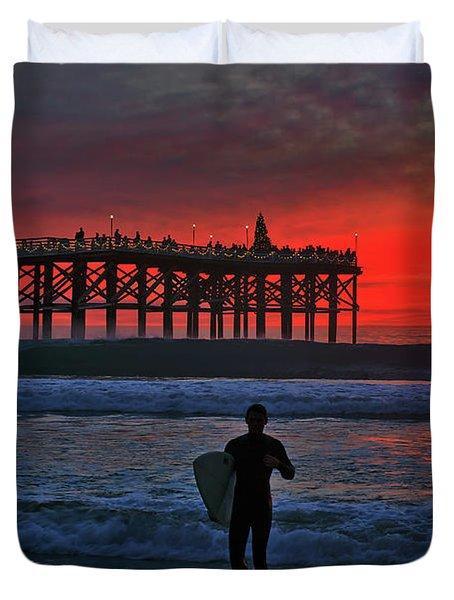 Christmas Surfer Sunset Duvet Cover