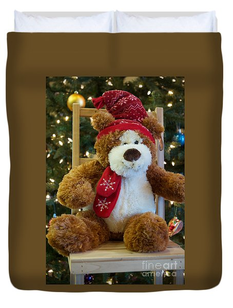 Duvet Cover featuring the photograph Christmas Teddy Bear by Vinnie Oakes