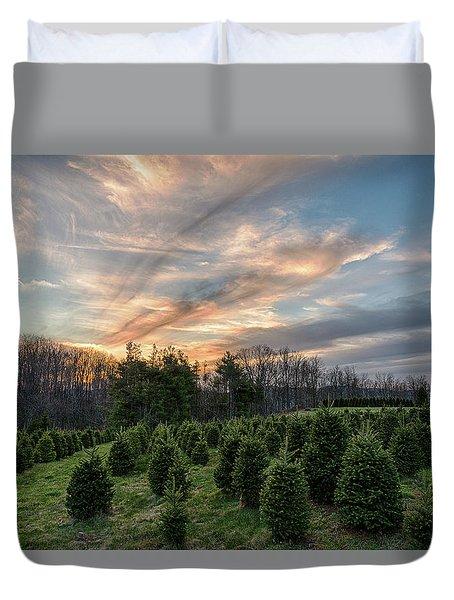 Christmas Tree Farm Sunset Duvet Cover