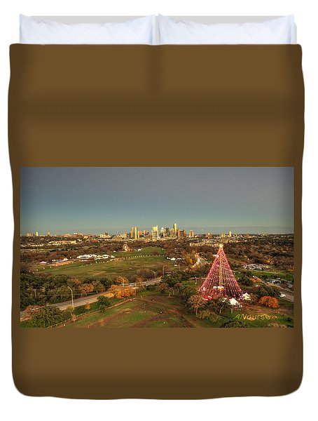 Christmas Tree In Austin Duvet Cover