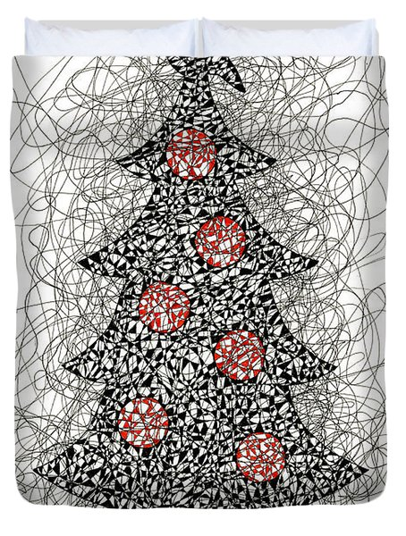 Christmas Tree Pen And Ink Drawing Duvet Cover