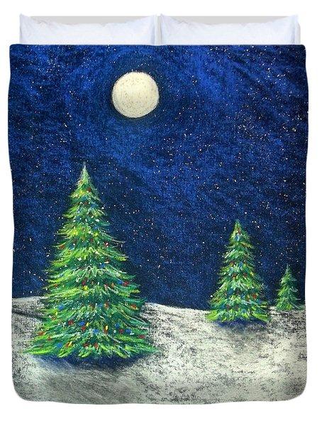 Christmas Trees In The Snow Duvet Cover by Nancy Mueller