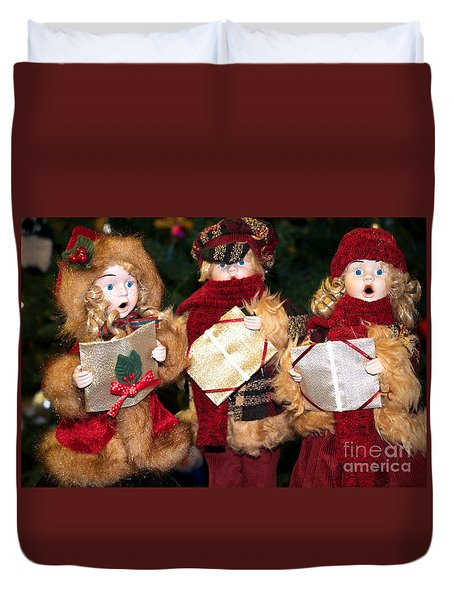 Duvet Cover featuring the photograph Christmas Trio by Vinnie Oakes