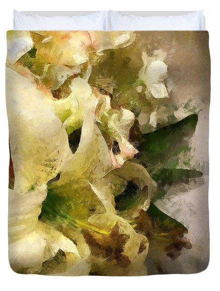 Christmas White Flowers Duvet Cover
