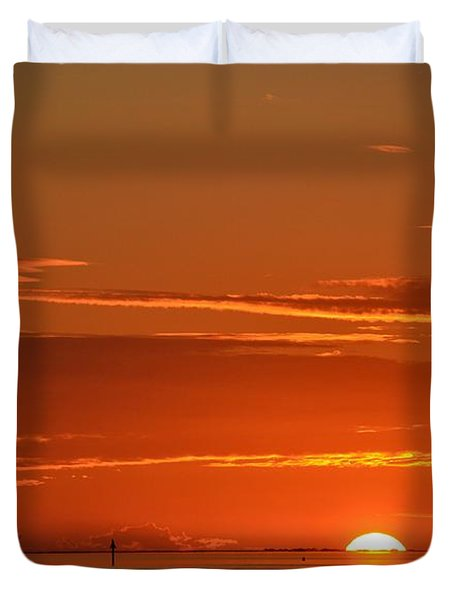 Christopher Columbus Replica Wooden Sailing Ship Nina Sails Off Into The Sunset Duvet Cover by Jeff at JSJ Photography