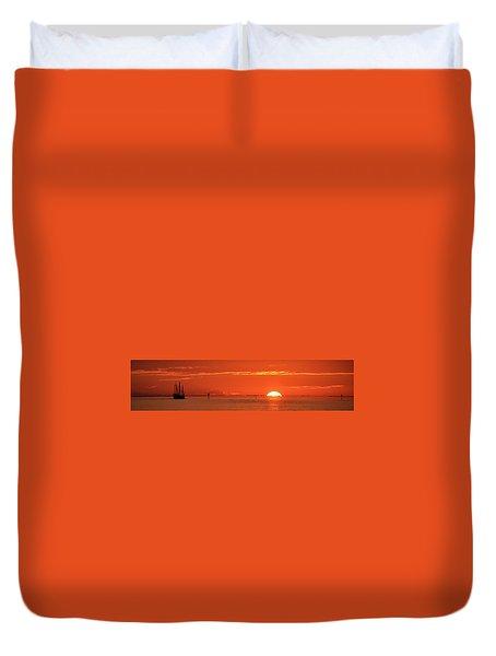 Christopher Columbus Sailing Ship Nina Sails Off Into The Sunset Panoramic Duvet Cover