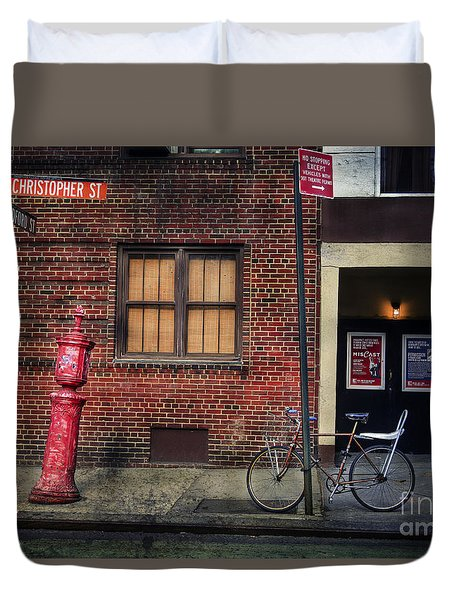 Duvet Cover featuring the photograph Christopher St. Bicycle by Craig J Satterlee