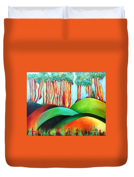 Duvet Cover featuring the painting Forest Waltz by Elizabeth Fontaine-Barr