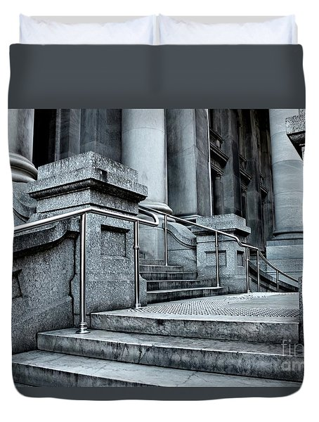 Duvet Cover featuring the photograph Chrome Balustrade by Stephen Mitchell
