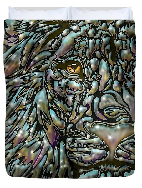 Chrome Lion Duvet Cover by Darren Cannell