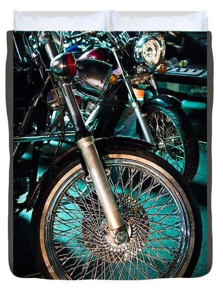 Duvet Cover featuring the photograph Chrome Rim And Front Fork Of Vintage Style Motorcycle by Jason Rosette