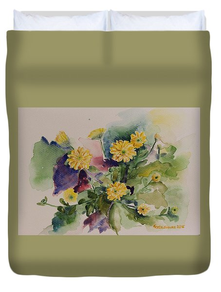 Duvet Cover featuring the painting Chrysanthemum Flowers Still Life In Watercolor by Geeta Biswas