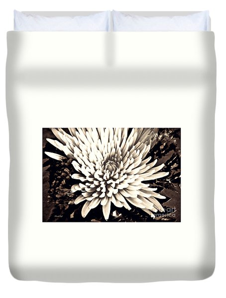 Duvet Cover featuring the photograph Chrysanthemum In Sepia 2  by Sarah Loft