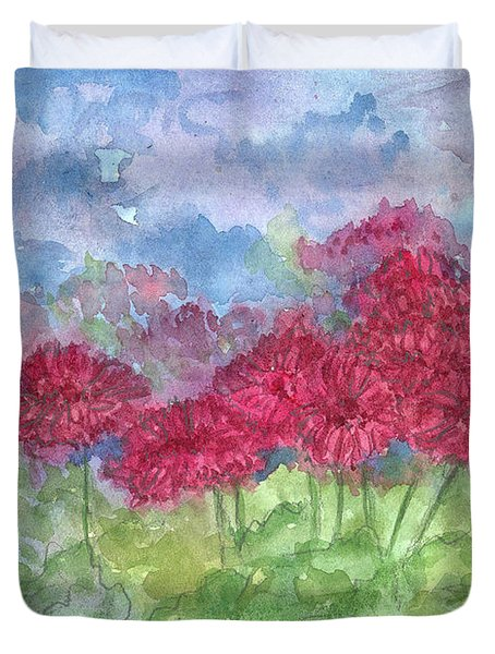 Duvet Cover featuring the painting Chrysanthemums by Cathie Richardson