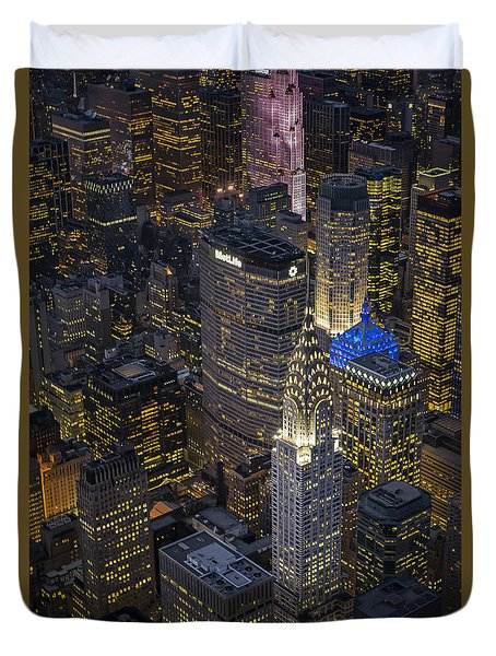 Chrysler Building Aerial View Duvet Cover by Susan Candelario
