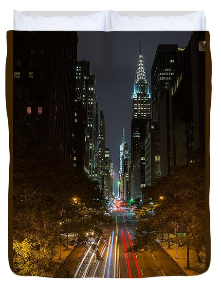 Chrysler Building At Night Duvet Cover by Chris McKenna
