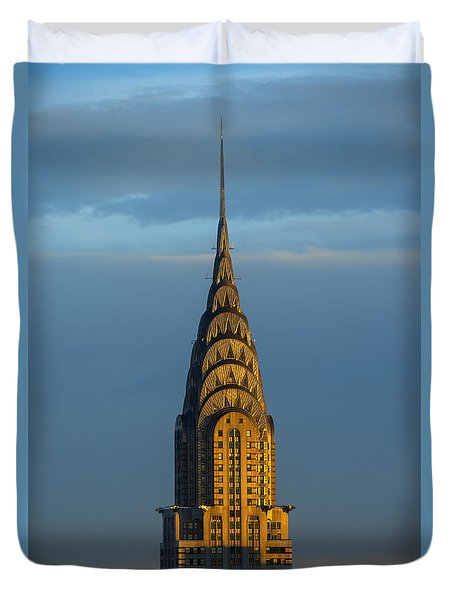 Chrysler Building In The Evening Light Duvet Cover by Diane Diederich