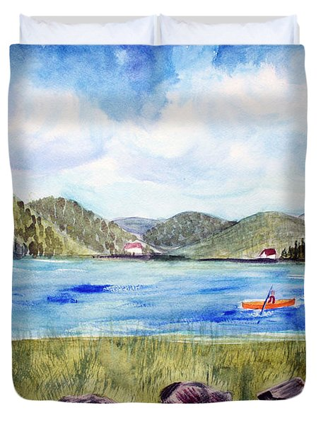 Duvet Cover featuring the painting Chrystal Lake  Barton Vt  by Donna Walsh