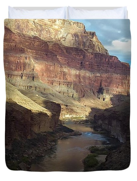 Chuar Butte Colorado River Grand Canyon Duvet Cover