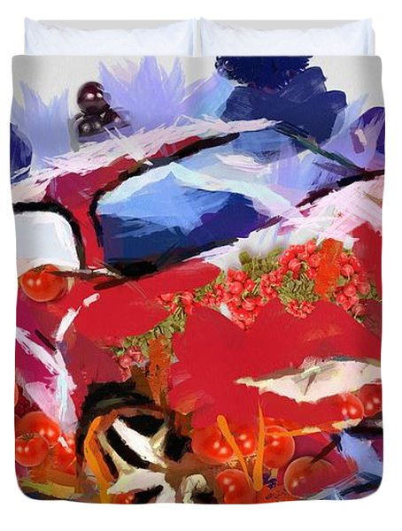 Duvet Cover featuring the painting Chubby Car Red by Catherine Lott