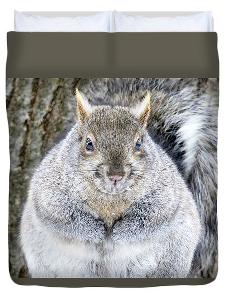 Chubby Squirrel Duvet Cover by Brook Burling