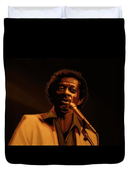 Chuck Berry Gold Duvet Cover by Paul Meijering