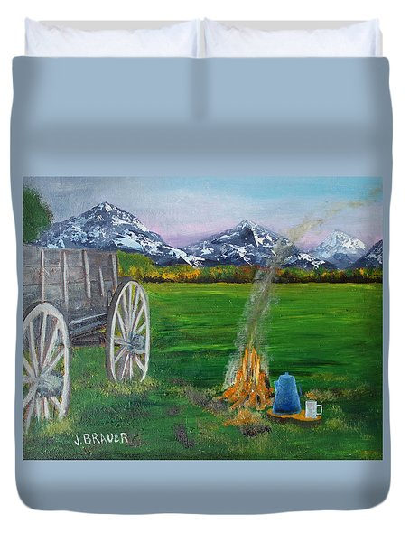 Duvet Cover featuring the painting Chuck Wagon by Jack G  Brauer