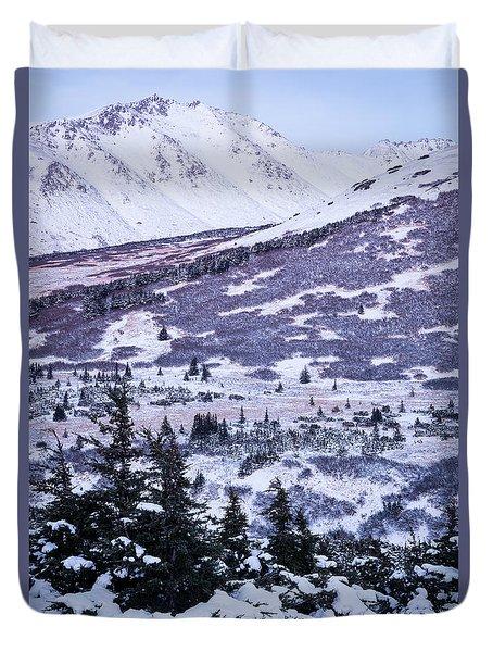 Chugach In Alpenglow Duvet Cover