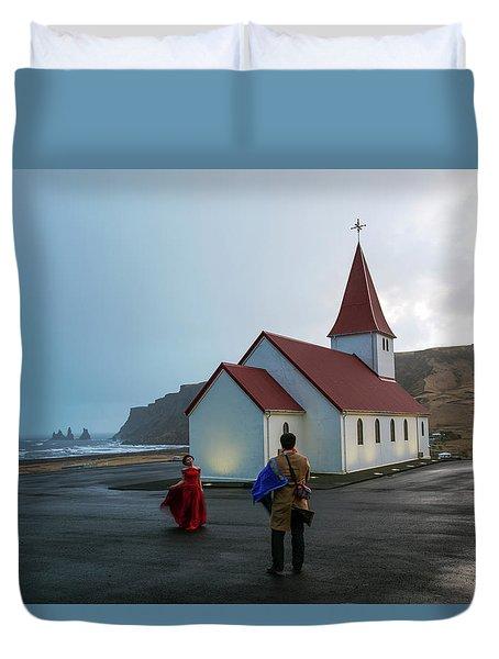 Duvet Cover featuring the photograph Church Above Reynisfjara Black Sand Beach, Iceland by Dubi Roman