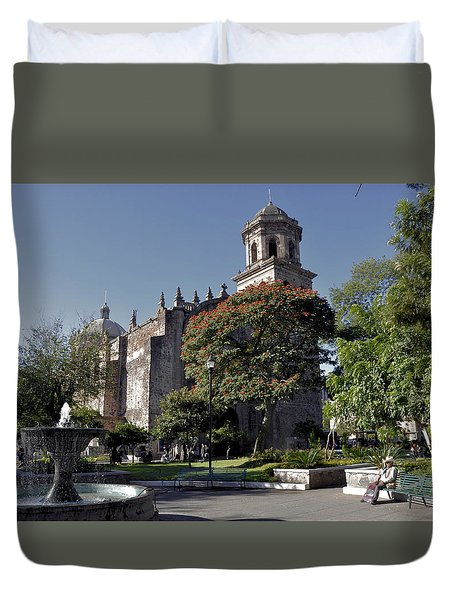 Duvet Cover featuring the photograph Church And Fountain Guadalajara by Jim Walls PhotoArtist