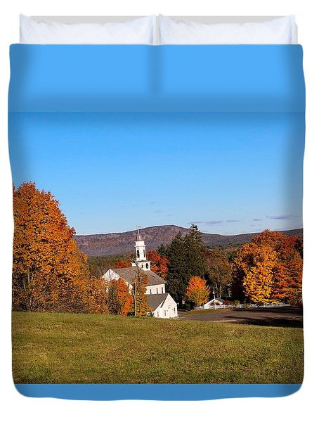 Church And Mountain Duvet Cover