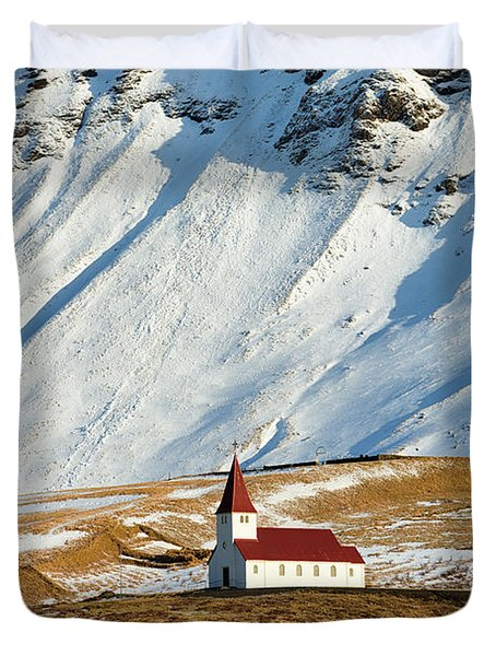 Duvet Cover featuring the photograph Church And Mountains In Winter Vik Iceland by Matthias Hauser