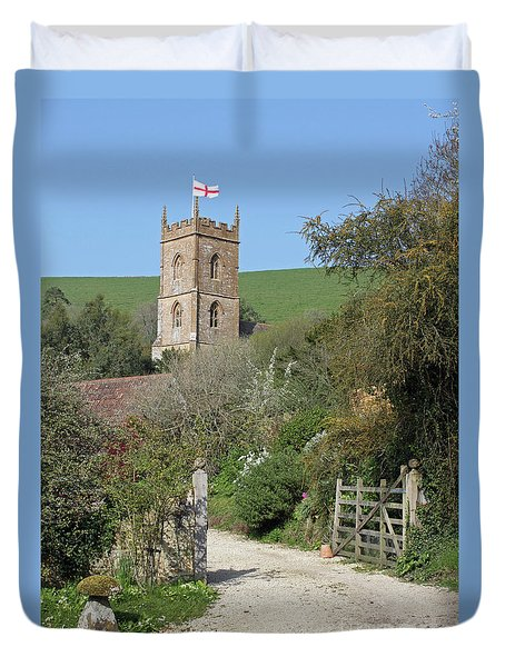 Church And The Flag Duvet Cover by Linda Prewer