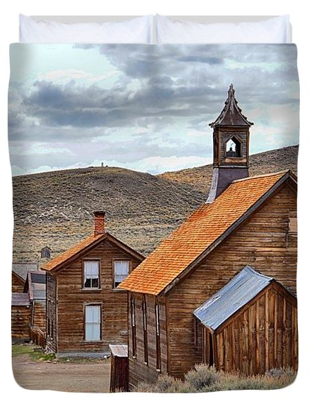 Church At Bodie Ghost Town Duvet Cover