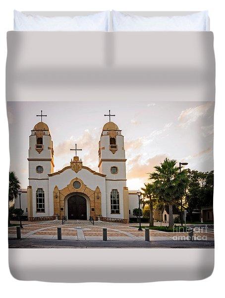 Church At Sunset Duvet Cover