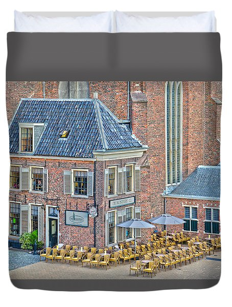 Duvet Cover featuring the photograph Church Cafe In Groningen by Frans Blok