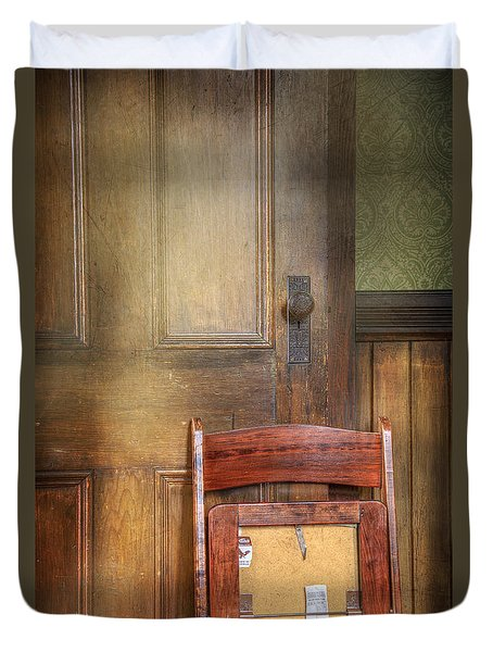 Duvet Cover featuring the photograph Church Chair by Craig J Satterlee