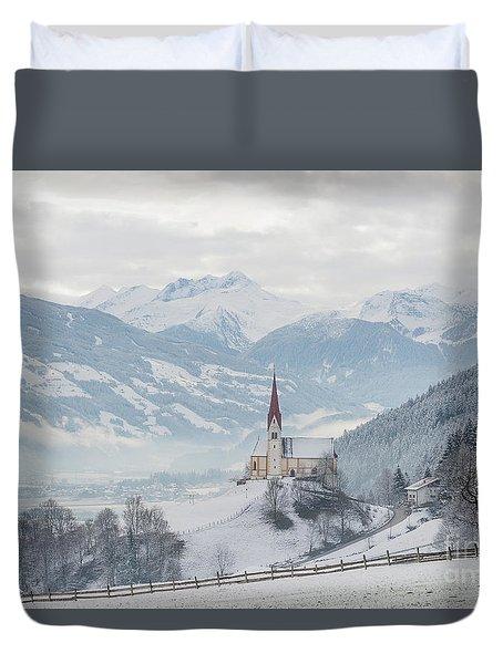 Church In Alpine Zillertal Valley In Winter Duvet Cover