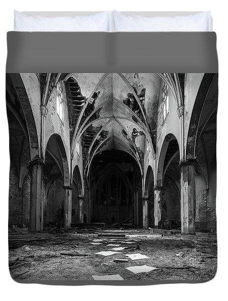 Church In Black And White Duvet Cover