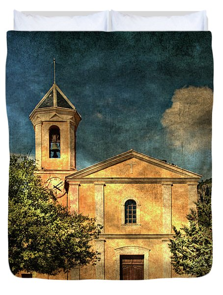 Church In Peillon Duvet Cover