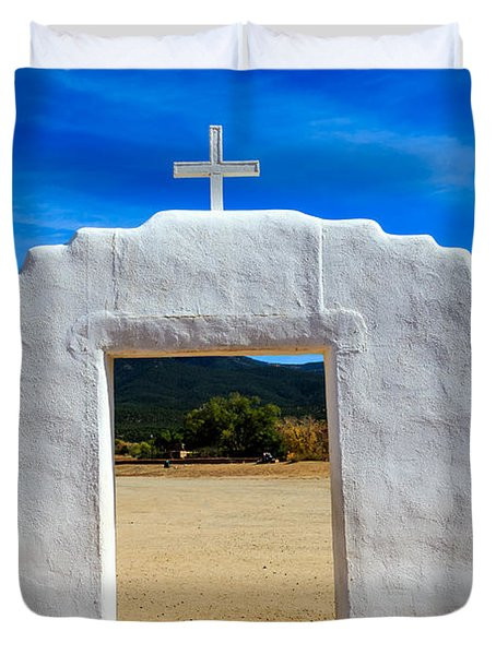 Church In Taos Pueblo Duvet Cover