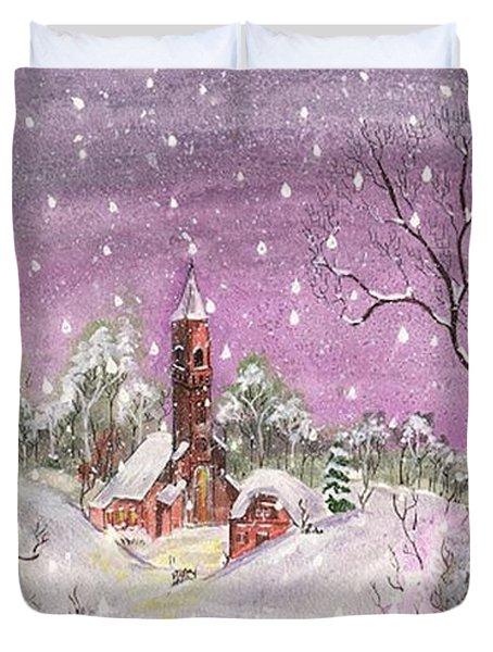 Church In The Snow Duvet Cover