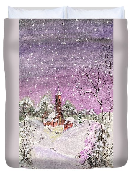 Church In The Snow Duvet Cover by Darren Cannell